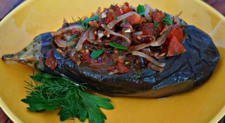 Stuffed Eggplant with Onion and Tomato