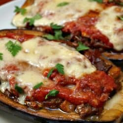 Stuffed Eggplant with Sausage and Provolone Cheese