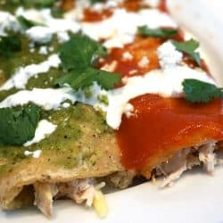 Green and Red Chicken Enchiladas