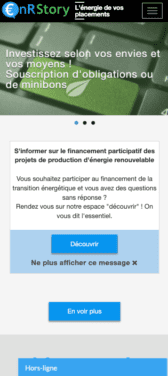 Capture d'écran du site internet mobile ENR Story