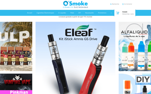 Capture d'écran du site internet O'Smoke