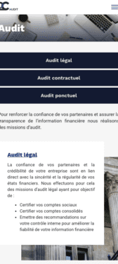 Capture d'écran du site internet mobile 2C Audit