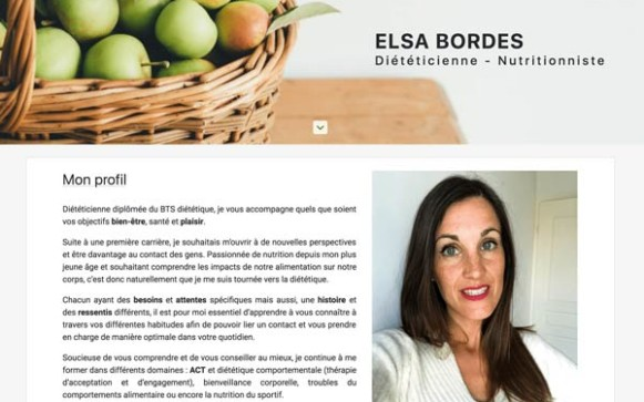 Capture d'écran du site internet Elsa Bordes