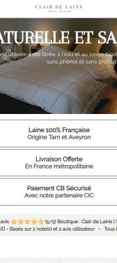 Capture d'écran du site internet mobile Clair de Laine