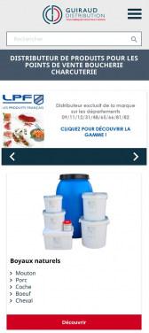 Capture d'écran du site internet mobile Guiraud Distribution