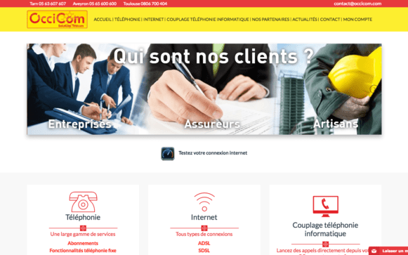 Capture d'écran du site internet Occicom