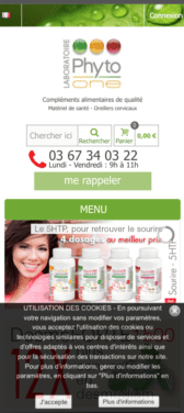 Capture d'écran du site internet mobile Phyto One