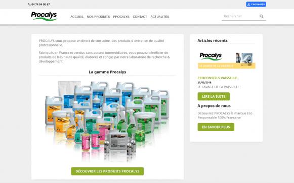 Capture d'écran du site internet Procalys