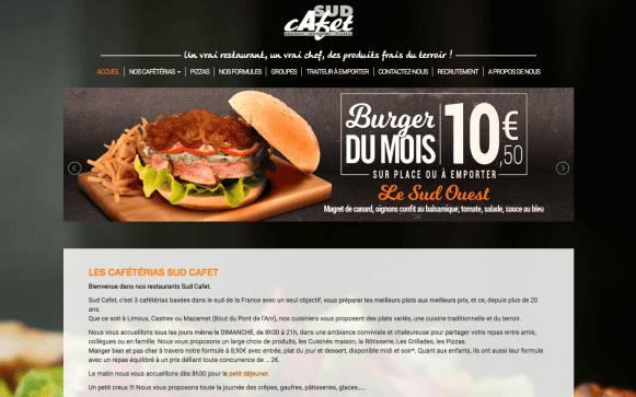 Capture d'écran du site internet Sud Cafet