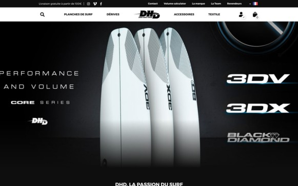 Rendu du site DHD Surf version PC