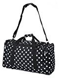 5 Cities® World's lightest (only 0.5kg!) Cabin Size holdall -fits Ryan Air/Easy Jet 55 x 40 x x 20 -flight bag. Actual dimension 54x30x20, Massive 32l Capacity (Black Polka Dot)
