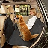 Poppypet Auto Rear Seat Protector Cover, Travel Car Seat Cover, Waterproof Hammock Seat Cover for Pets , Heavy Duty & Waterproof with Side flaps 165*145cm Black