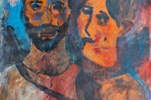 Ibrahim Al Mozain, Date 1 (2018), acrylic on paper, 70 x 70 cm