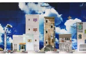 Wafa Hourani, Panorama from Qalandia, 2013, mixed media installation with light, 65 x 125 x 20 cm