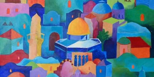Hosni Radwan, Jerusalem #2 (2020), acrylic on canvas, 96 × 66 cm