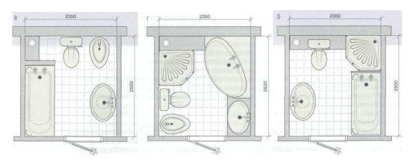 Планировка совмещенной ванны и санузла