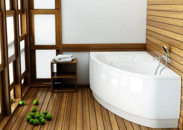 Дощатый пол в ванной