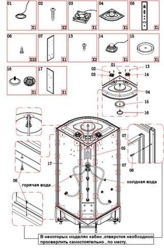 Задняя стенка и панель душевой кабинки