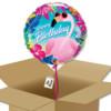 Ballon à offrir Joyeux anniversaire tropical avec flamant rose dans sa boite cadeau