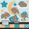 Vintage Blue Sleepy Bears Clipart & Paper Vectors