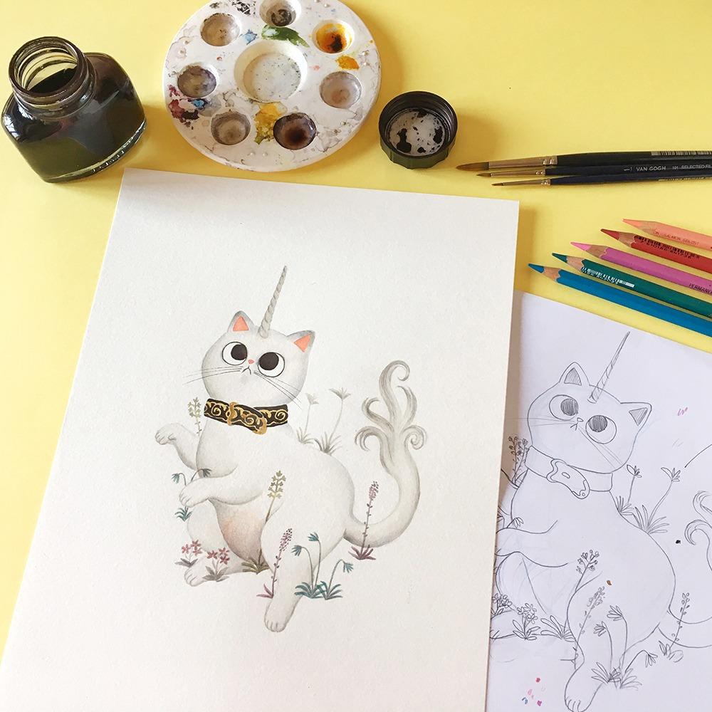 Inktober 2019, ilustración de gato, ilustración a tinta, gato unicornio, el unicornio en cautividad, historia del arte,