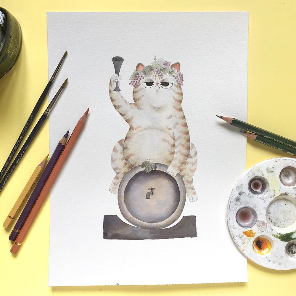 Inktober 2019, ilustración de gato, ilustración a tinta, historia del arte, Fuente de Baco, Jardines de Aranjuez,