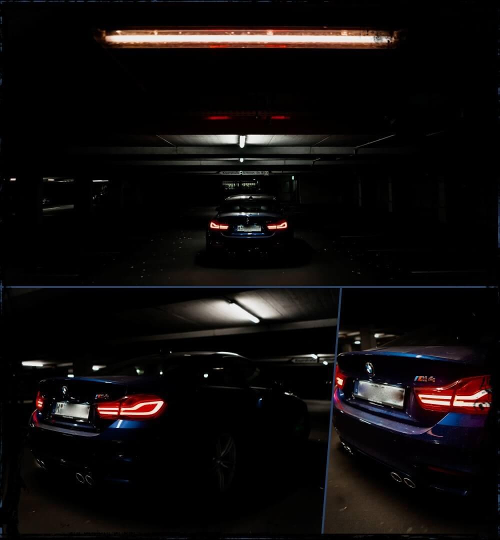 BMW M4 Coupé Heck, verchromte Doppelendrohre & LED Heckleuchten