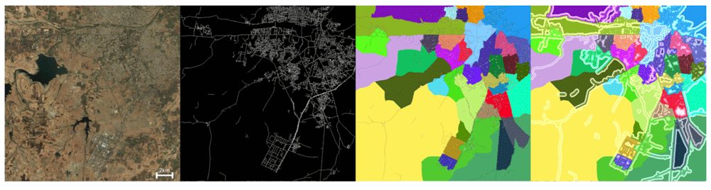Satellite image, extracted roads, labeled regions and roads, and meter markers and blocks of an example developing cities. Source: Demir & Raskar, 2018