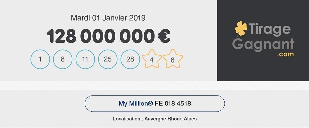 Combinaison gagnante complète EuroMIllions My Million du 1er janvier 2019