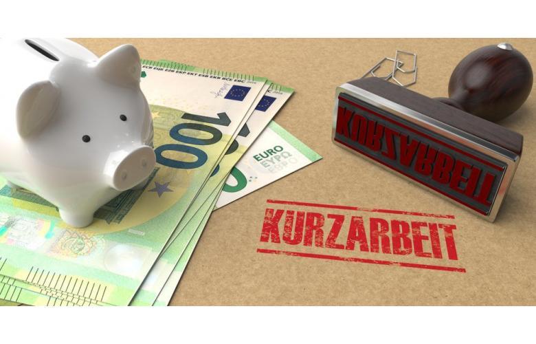 Печать Kurzarbeit, банкноты евро и копилка