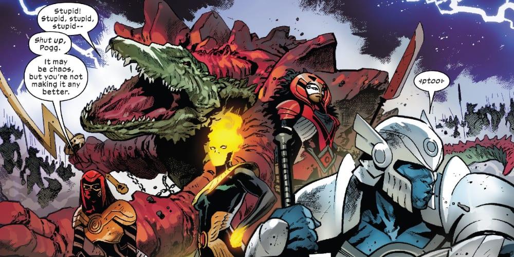 Excalibur #15: X of Swords Chapter Twenty-One, X-Men, X-Force, Tini Howard, Jonathan Hickman, Jubilee, Saturnyne, Apocalypse, Captain Britain, Captain Avalon, Wolverine, Storm, Pogg-Ur-Pogg, Cypher, Gorgon, Magik, Cable, Cyclops, Krakoa, Arakko