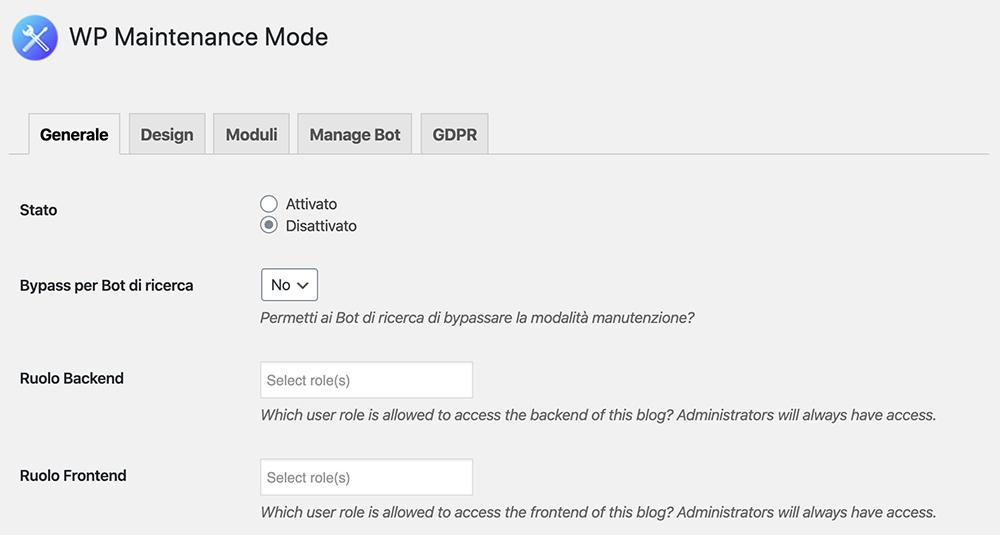 schermata del plugin wp maintenance mode