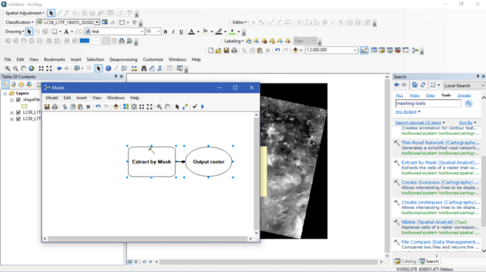 Extract by Mask (Spatial Analyst) tool