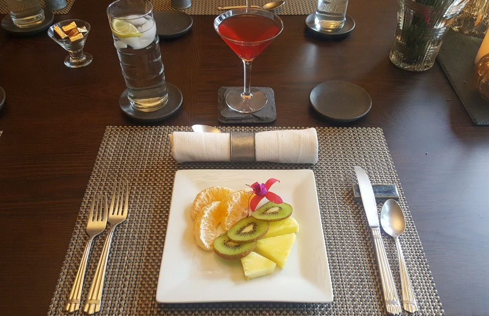 Delicious fruit and fresh cranberry juice during our breakfast