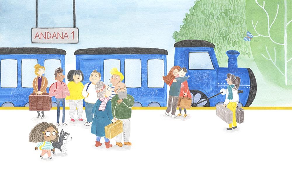 El Tren Blau, Marta Dujovne, cruïlla, ilustración de trenes, ilustración infantil, ilustración para niños, libros para primeros lectores,