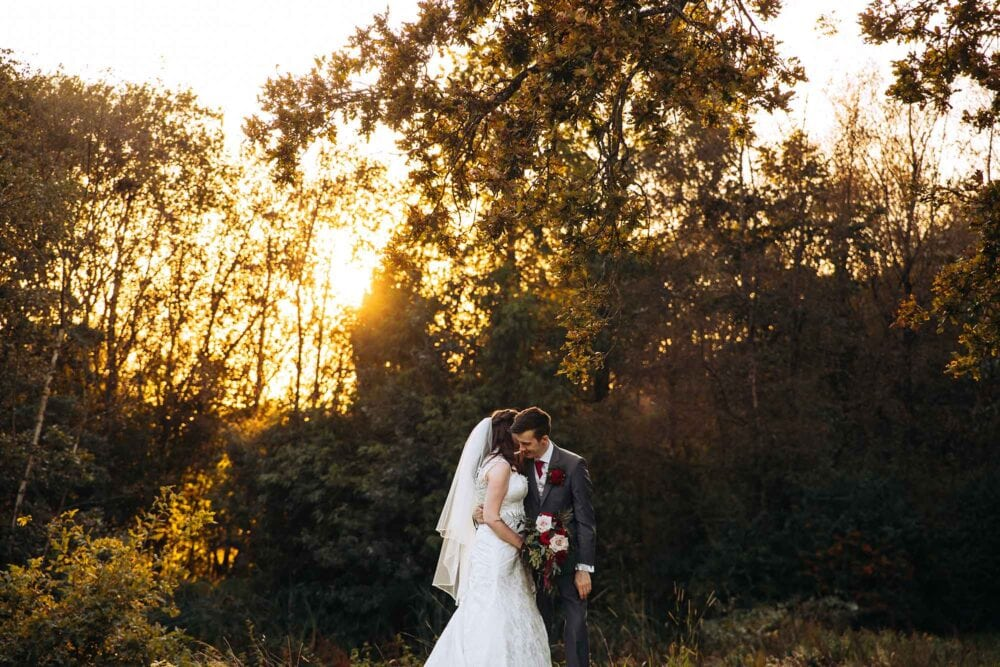 Rivington Barn Wedding Photographer with Bride and Groom at Sunset