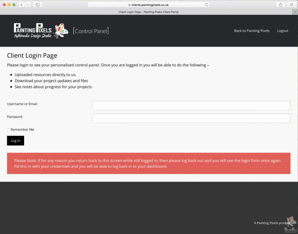 Painting Pixels Client Portal