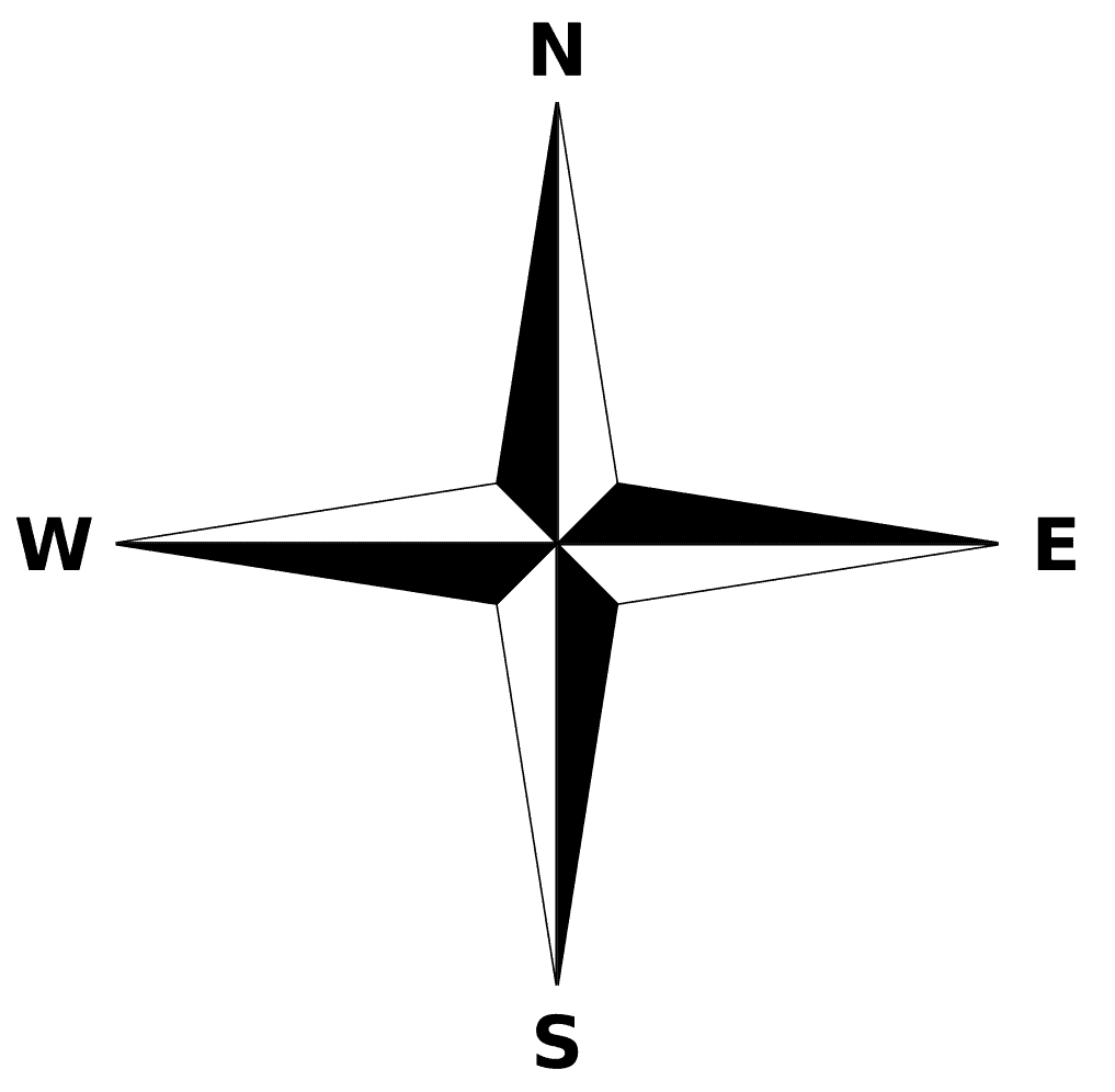 A compass rose showing just the cardinal points of north, south, east, and west.