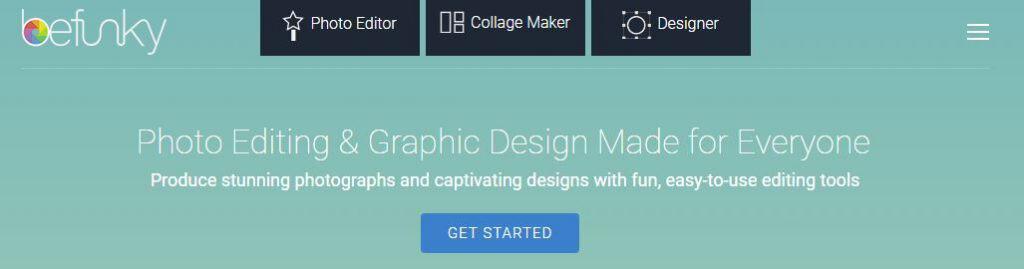 screenshot of befunky's logo and website header