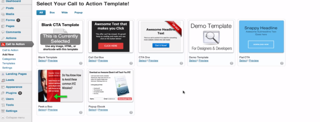 Wordpress call to action plugin