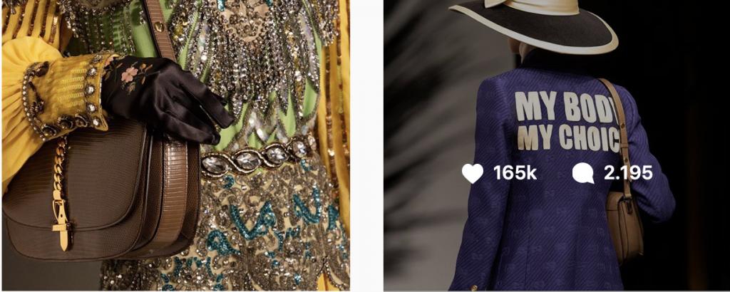"""Captura del Instagram de Gucci, en el que se aprecia un mensaje feminista en la espalda de una americana que dice """"My Body, My Choice"""" ( Mi cuerpo, mis decisiones) Aparece también una imagen en la que aparecen cadenas como elemento decorativo decorativo."""
