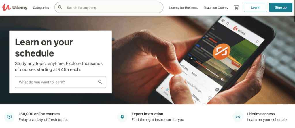 The explore page on top learning platform Udemy