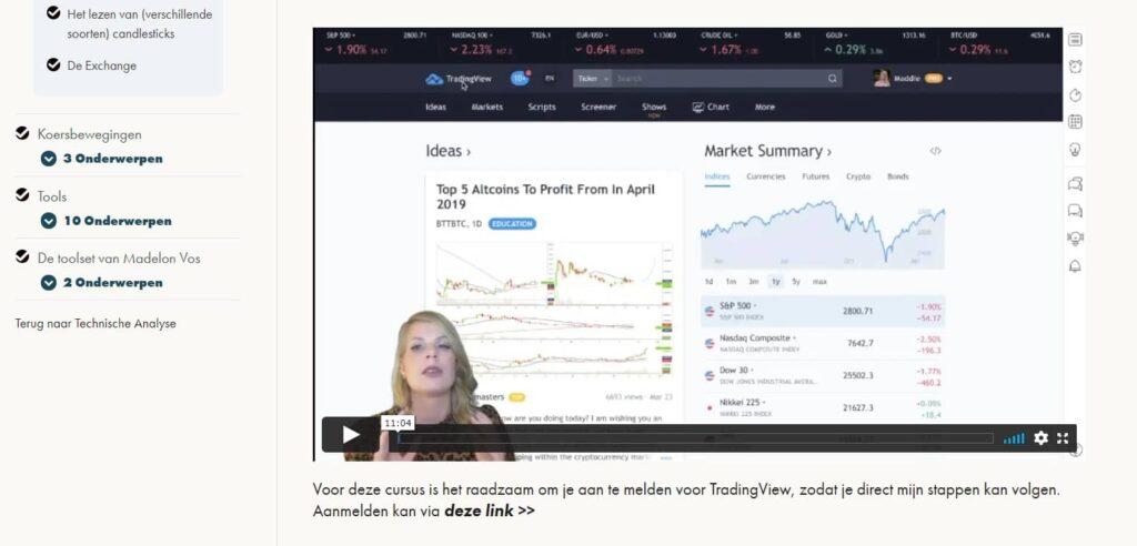 cursus handelen in crypto's review screenshot video grafiekuitleg