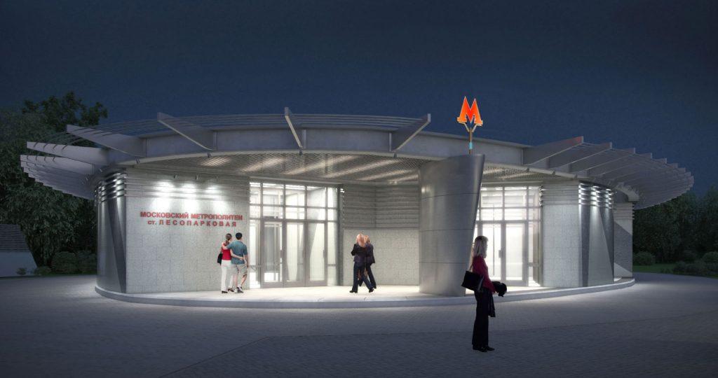 выход со станции «Лесопарковая»  Согласован проект наземного вестибюля станции «Лесопарковая»                               13 1024x540