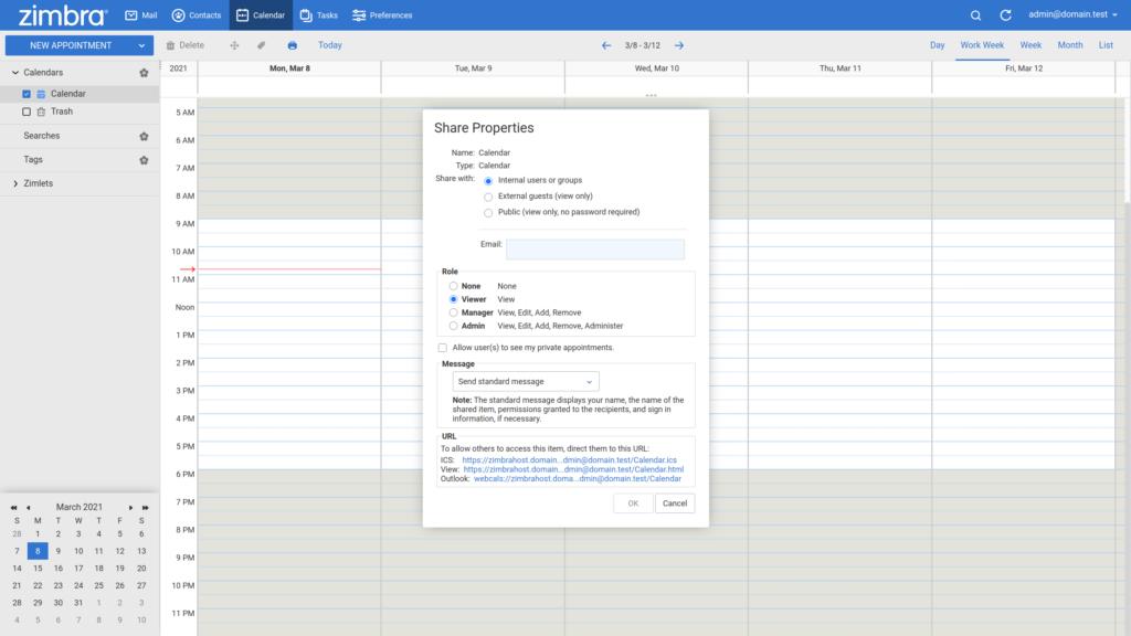 Zimbra share calendar internally