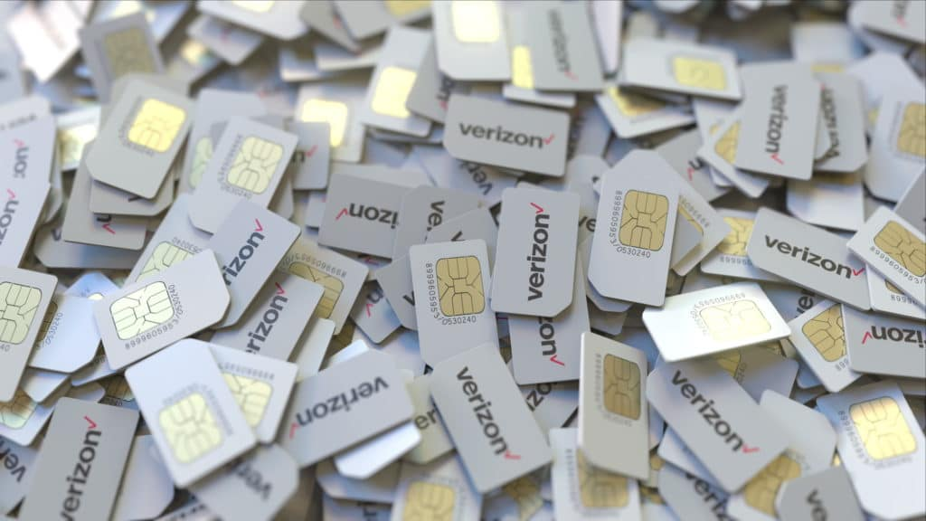 verizon-swot-analysis-threats Pile of SIM cards with Verizon Communications Inc. plc logo, close-up. Editorial telecommunication related 3D rendering
