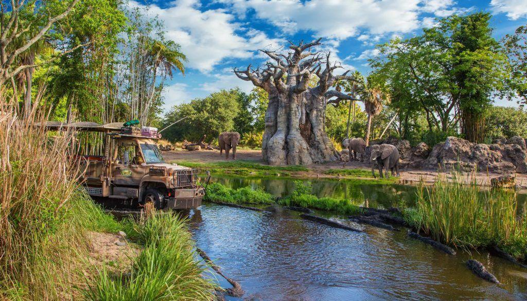 Atracción de Kilimanjaro Safari en el parque Animal Kingdom en Disney World Orlando