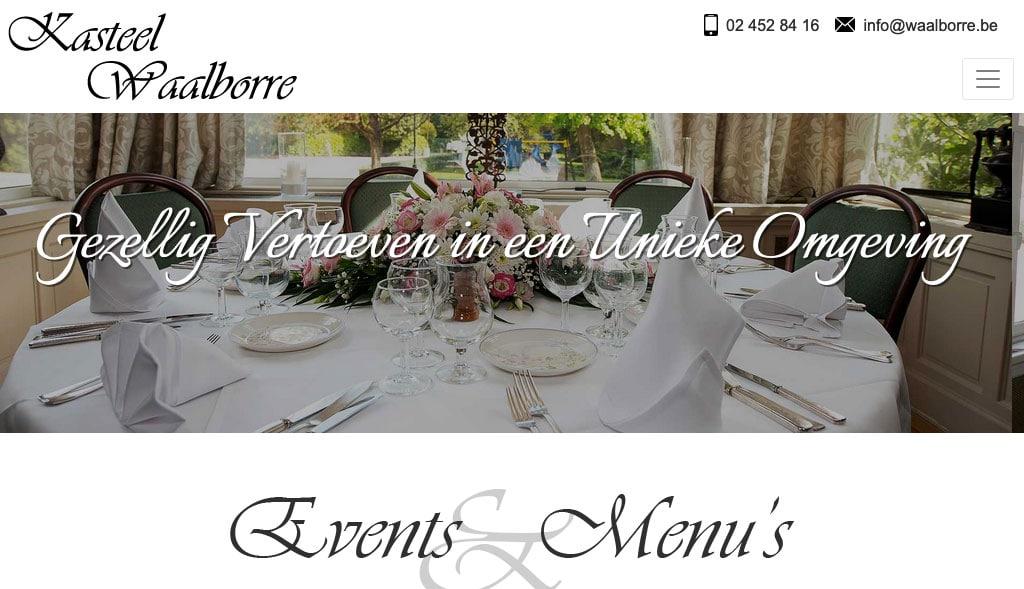 Website voor restaurant Kasteel Waalborre te Asse