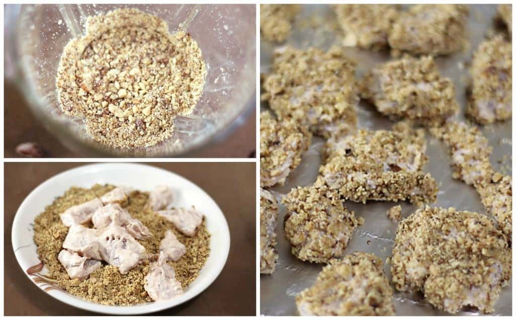 Blue Diamond Almonds Crushed to Coat Chicken