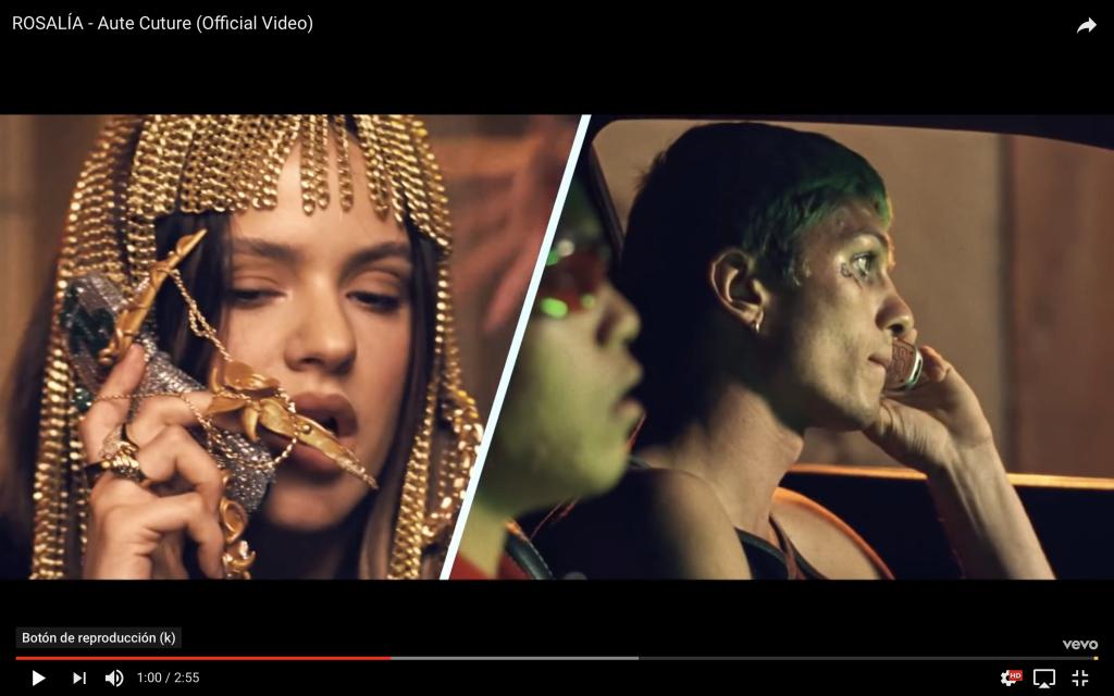 Captura del videoclip de Rosalía en el que aparece con una peluca de cadenas emulando a Cleopatra y con nail art muy exagerado.